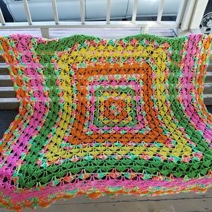 Colorful Hand Crochet Drapery Throw Blanket Large